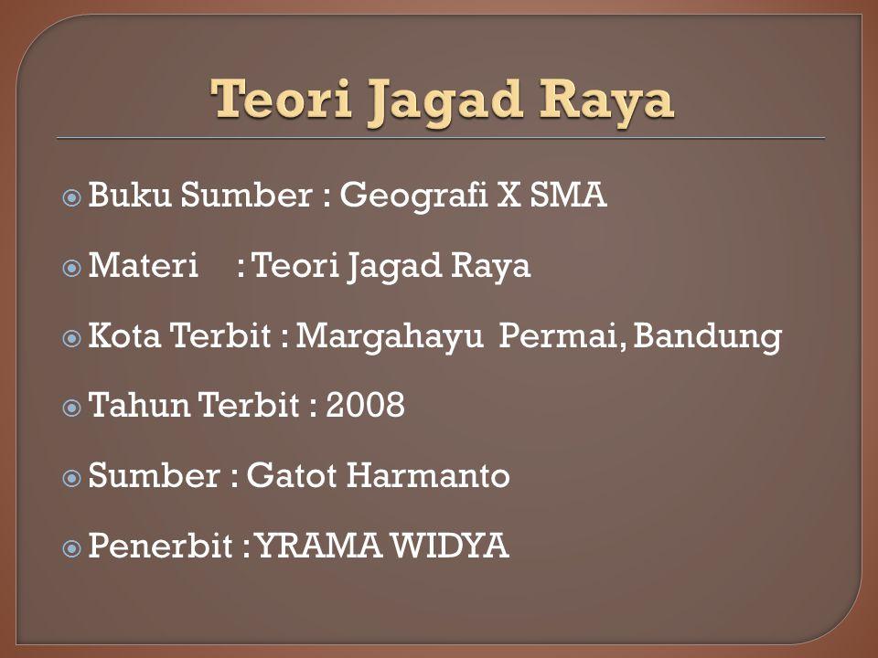  Buku Sumber : Geografi X SMA  Materi: Teori Jagad Raya  Kota Terbit : Margahayu Permai, Bandung  Tahun Terbit : 2008  Sumber : Gatot Harmanto  Penerbit : YRAMA WIDYA