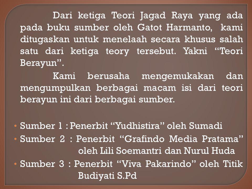 Dari ketiga Teori Jagad Raya yang ada pada buku sumber oleh Gatot Harmanto, kami ditugaskan untuk menelaah secara khusus salah satu dari ketiga teory tersebut.