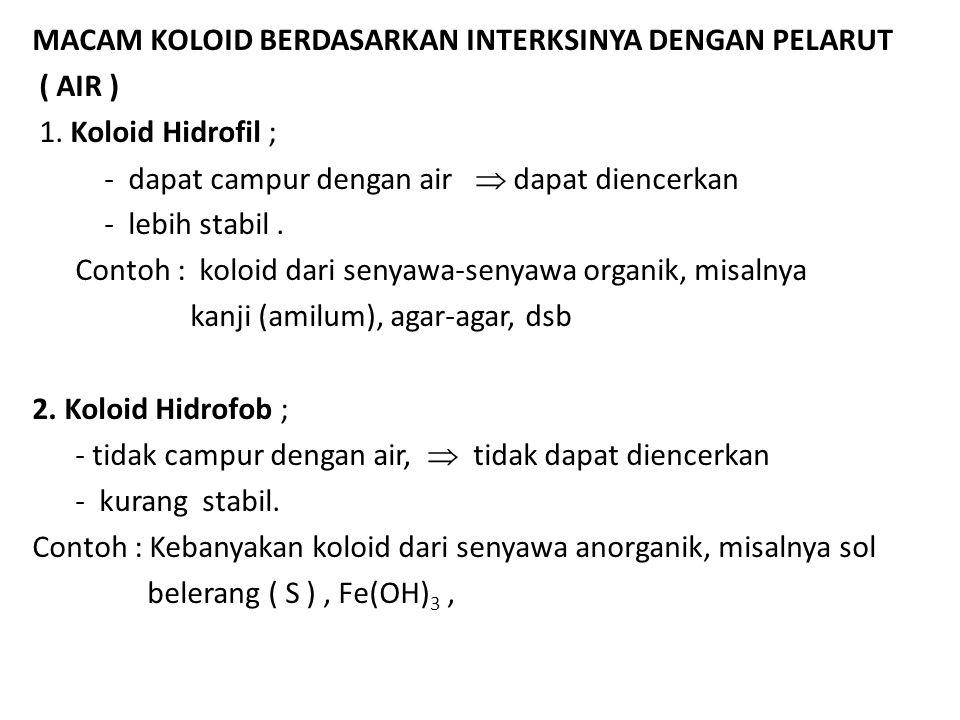 MACAM KOLOID BERDASARKAN INTERKSINYA DENGAN PELARUT ( AIR ) 1. Koloid Hidrofil ; - dapat campur dengan air  dapat diencerkan - lebih stabil. Contoh :