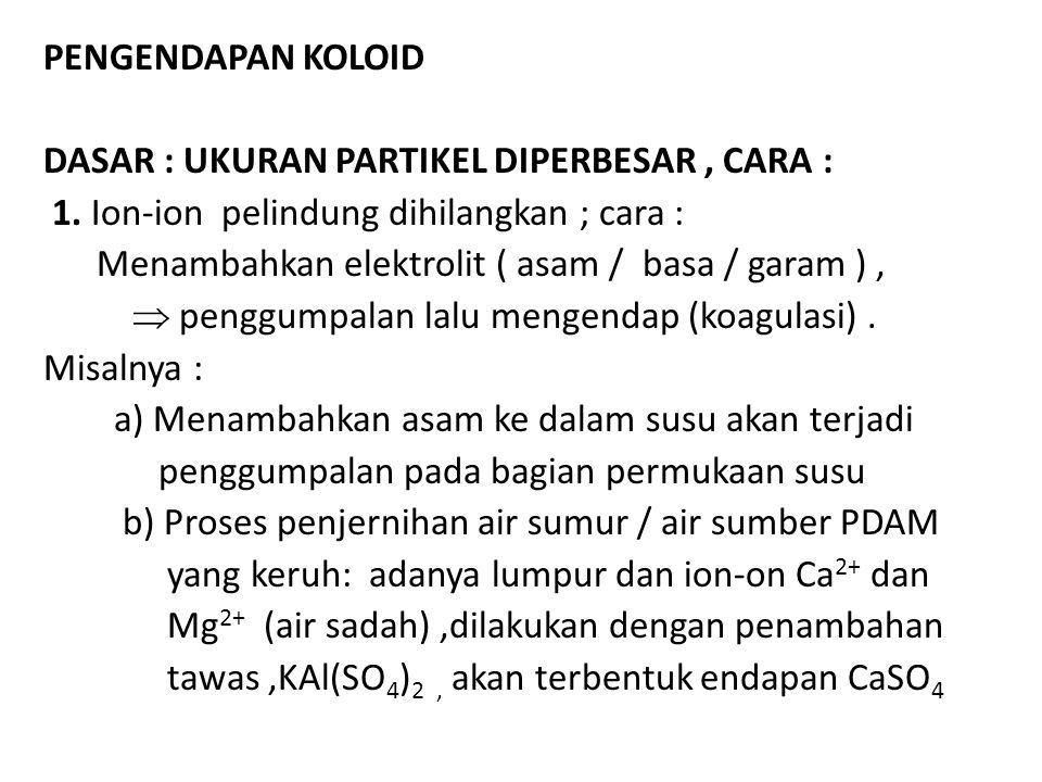PENGENDAPAN KOLOID DASAR : UKURAN PARTIKEL DIPERBESAR, CARA : 1. Ion-ion pelindung dihilangkan ; cara : Menambahkan elektrolit ( asam / basa / garam )