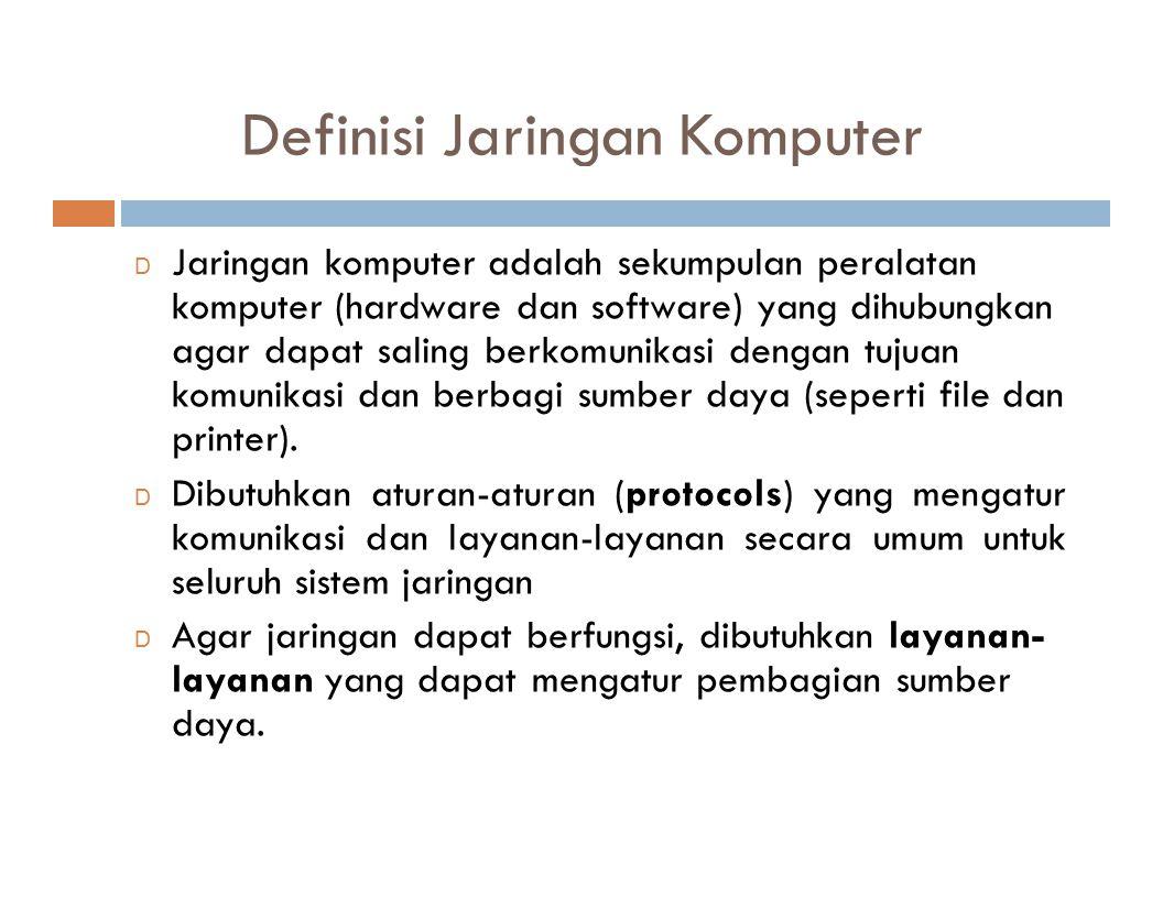 Definisi Jaringan Komputer D Jaringan komputer adalah sekumpulan peralatan komputer (hardware dan software) yang dihubungkan agar dapat saling berkomu