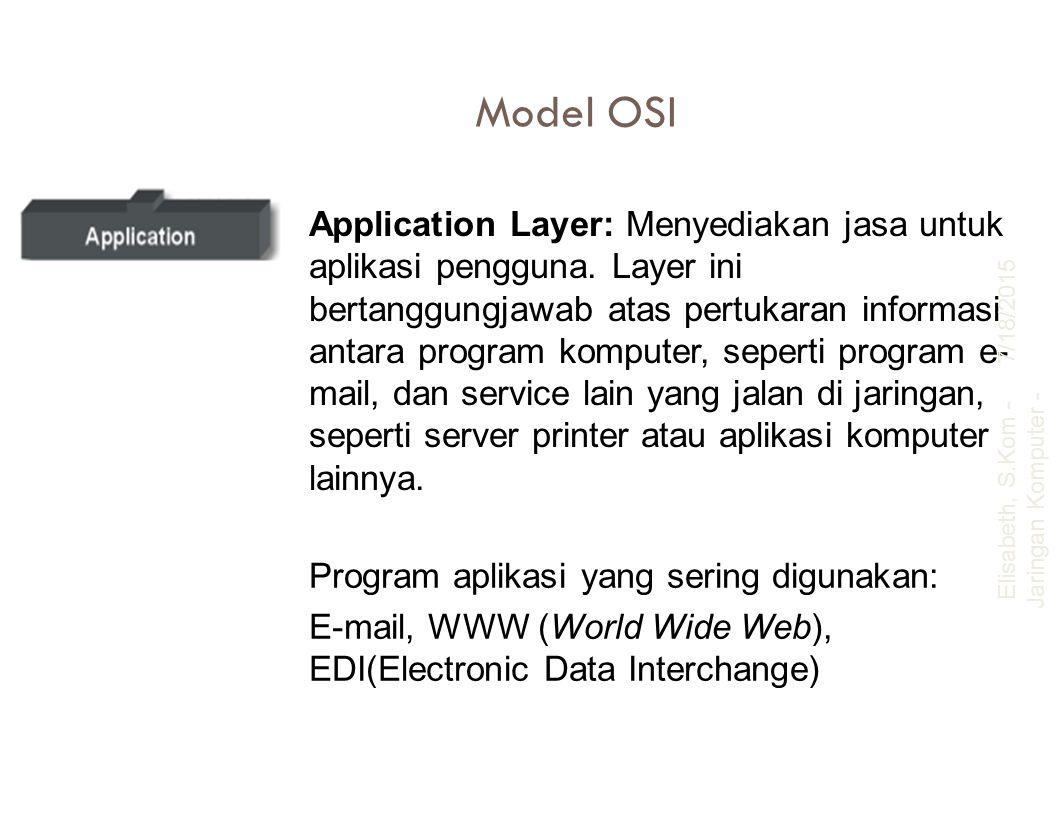 Model OSI Application Layer: Menyediakan jasa untuk aplikasi pengguna. Layer ini bertanggungjawab atas pertukaran informasi antara program komputer, s