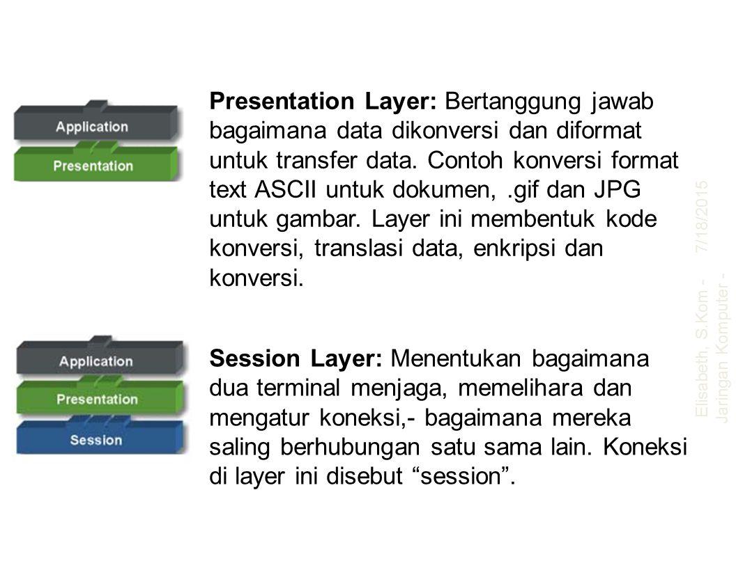 Presentation Layer: Bertanggung jawab bagaimana data dikonversi dan diformat untuk transfer data. Contoh konversi format text ASCII untuk dokumen,.gif