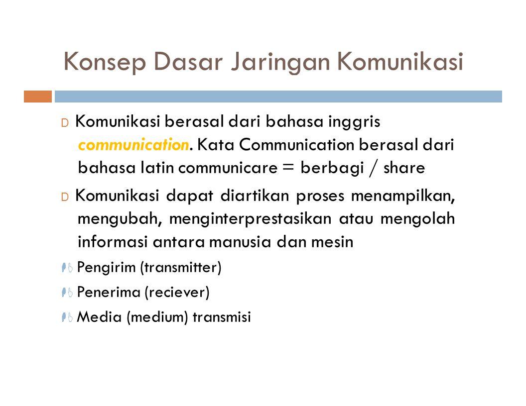 Konsep Dasar Jaringan Komunikasi D Komunikasi berasal dari bahasa inggris communication. Kata Communication berasal dari bahasa latin communicare = be
