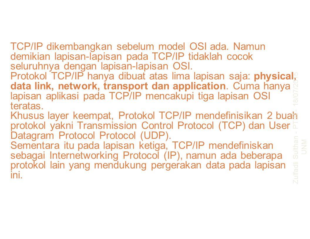 TCP/IP dikembangkan sebelum model OSI ada. Namun demikian lapisan-lapisan pada TCP/IP tidaklah cocok seluruhnya dengan lapisan-lapisan OSI. Protokol T