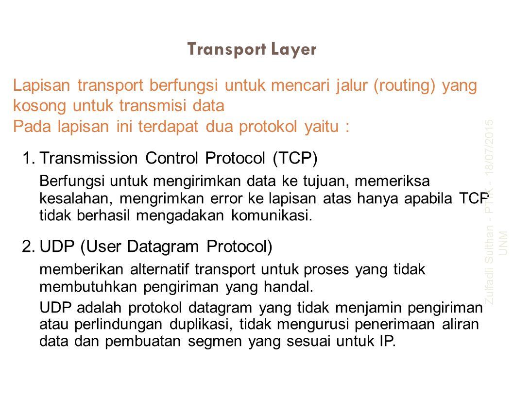 Transport Layer Lapisan transport berfungsi untuk mencari jalur (routing) yang kosong untuk transmisi data Pada lapisan ini terdapat dua protokol yait