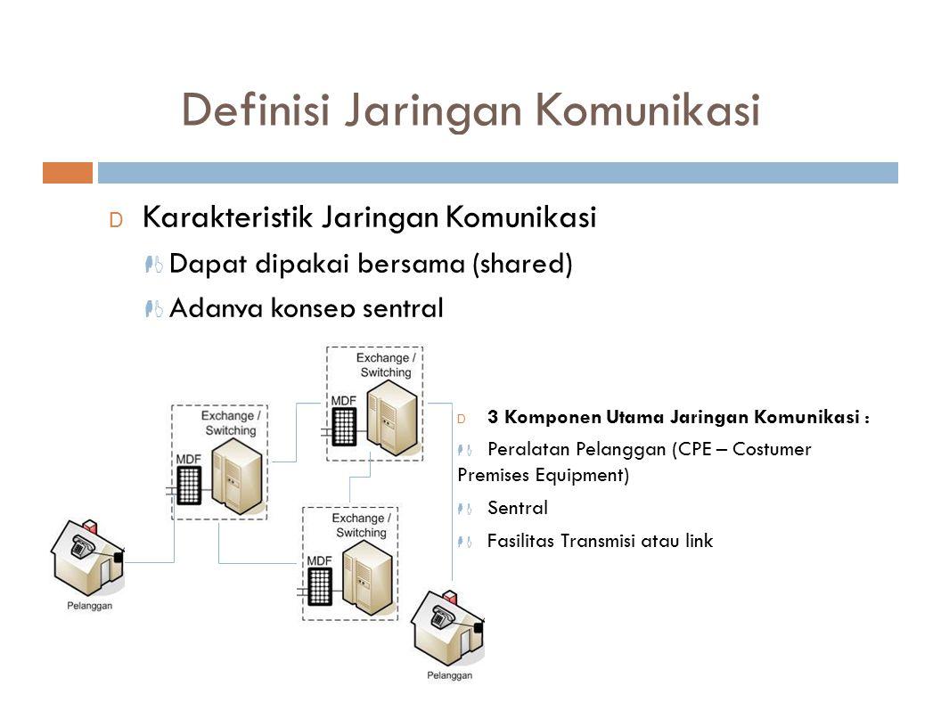 Definisi Jaringan Komunikasi D Karakteristik Jaringan Komunikasi  Dapat dipakai bersama (shared)  Adanya konsep sentral D 3 Komponen Utama Jaringan