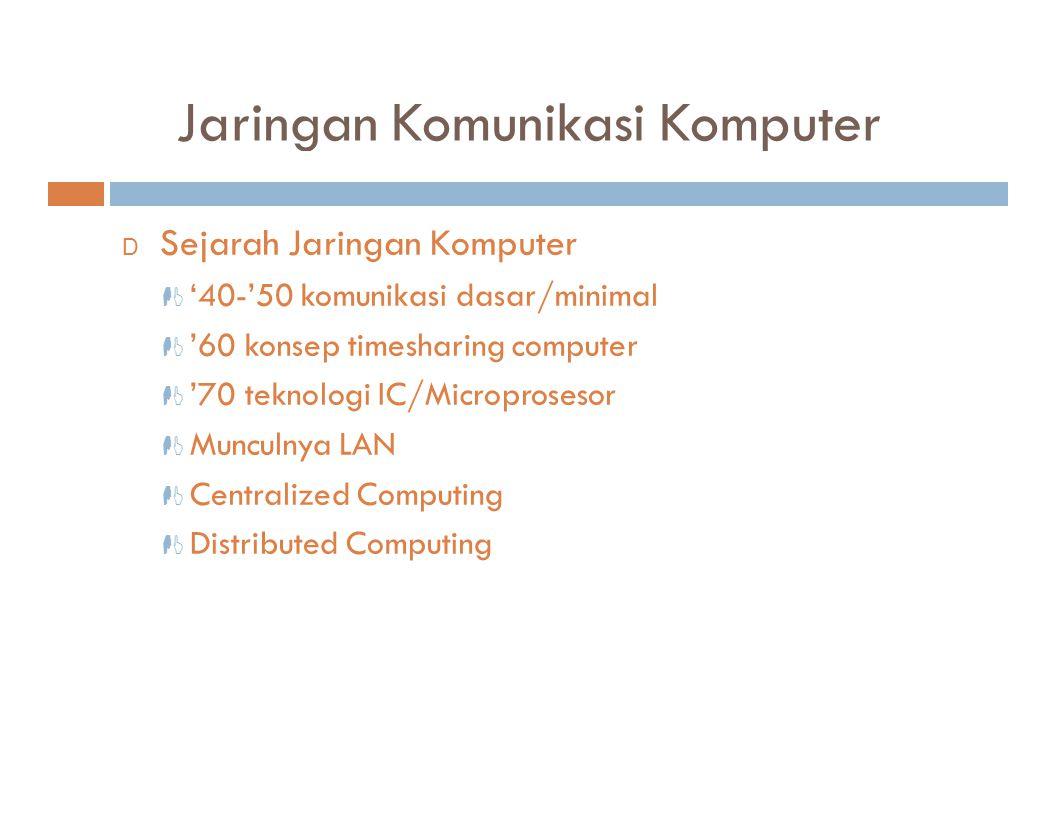 Jaringan Komunikasi Komputer D Sejarah Jaringan Komputer  '40-'50 komunikasi dasar/minimal  '60 konsep timesharing computer  '70 teknologi IC/Micro