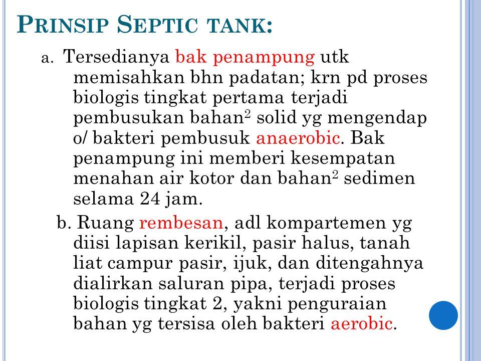 P RINSIP S EPTIC TANK : a.