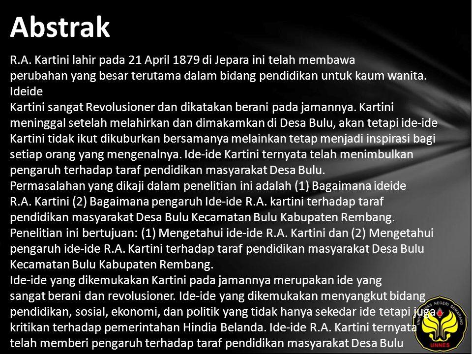 Kata Kunci Pengaruh, Ide-ide R.A.Kartini, Taraf Pendidikan, Masyarakat Desa Bulu.