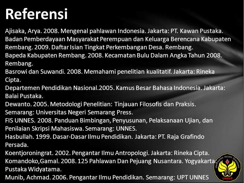 Referensi Ajisaka, Arya. 2008. Mengenal pahlawan Indonesia.