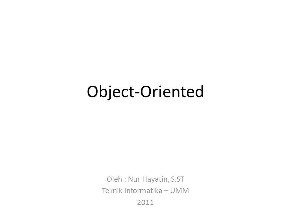 Object-Oriented Oleh : Nur Hayatin, S.ST Teknik Informatika – UMM 2011