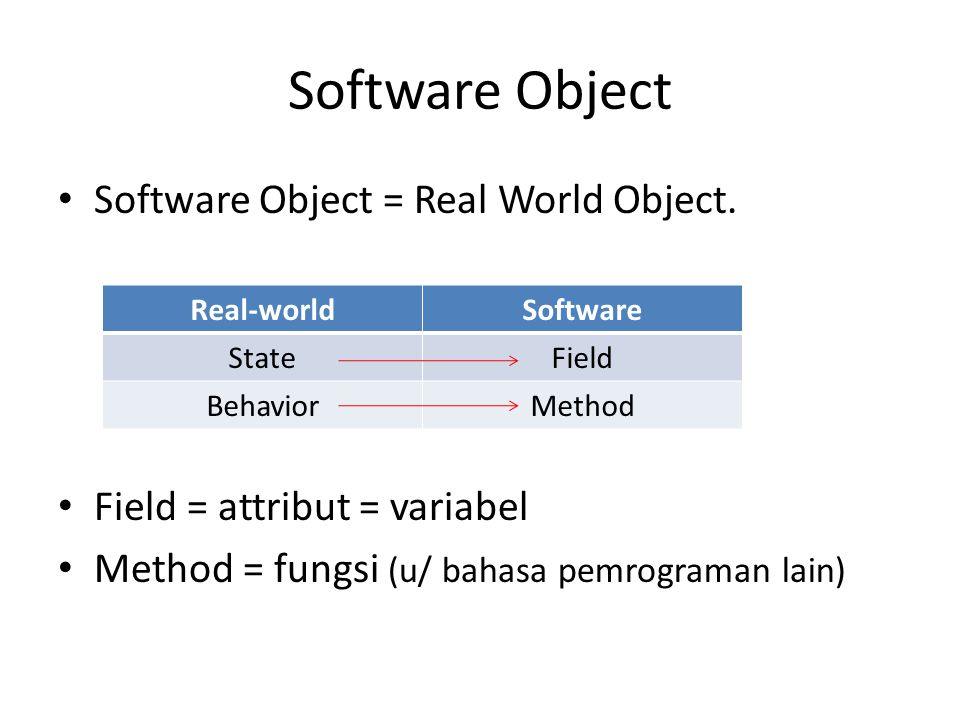 Software Object Software Object = Real World Object.
