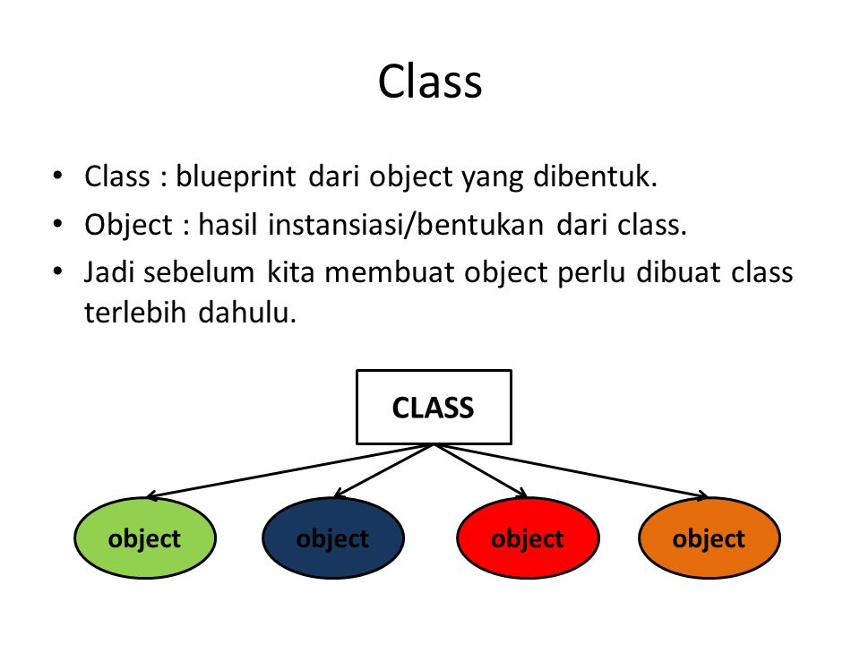 Class Class : blueprint dari object yang dibentuk. Object : hasil instansiasi/bentukan dari class. Jadi sebelum kita membuat object perlu dibuat class