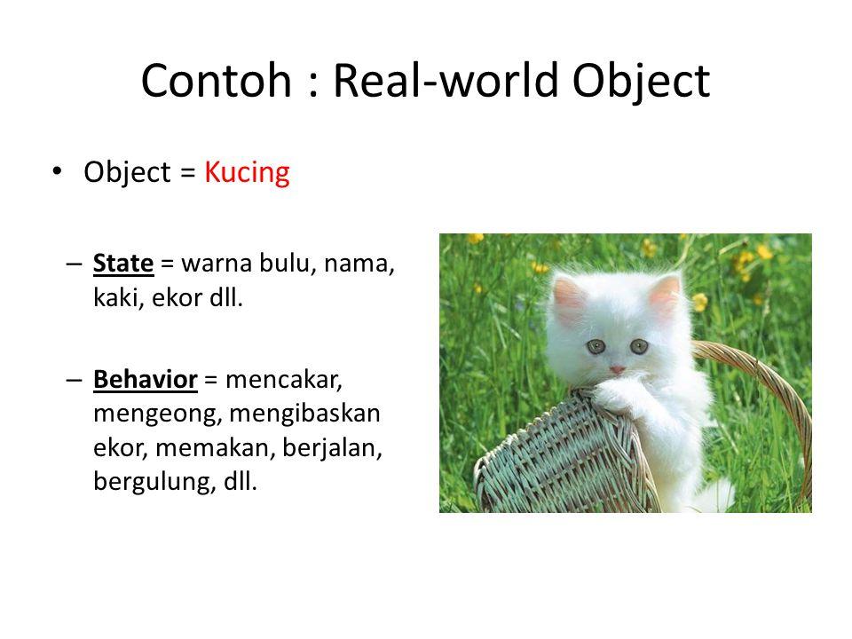 Contoh : Real-world Object Object = Kucing – State = warna bulu, nama, kaki, ekor dll. – Behavior = mencakar, mengeong, mengibaskan ekor, memakan, ber