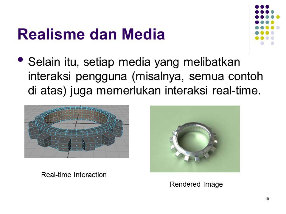 Realisme dan Media Selain itu, setiap media yang melibatkan interaksi pengguna (misalnya, semua contoh di atas) juga memerlukan interaksi real-time. 1