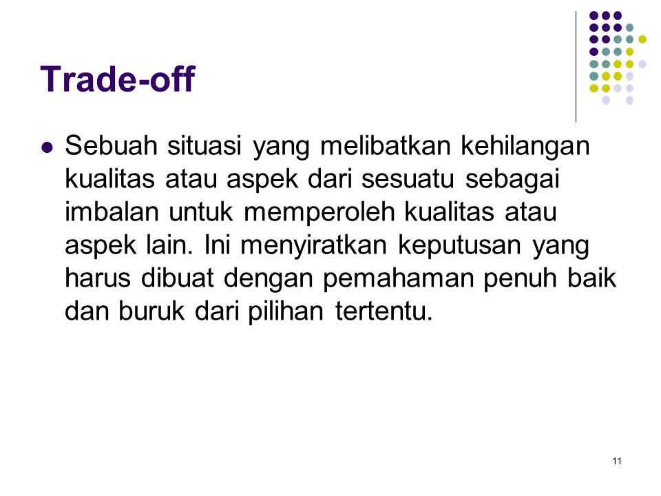 Trade-off Sebuah situasi yang melibatkan kehilangan kualitas atau aspek dari sesuatu sebagai imbalan untuk memperoleh kualitas atau aspek lain.