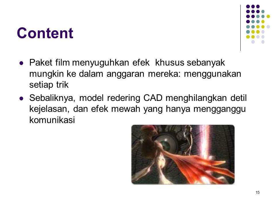 Content Paket film menyuguhkan efek khusus sebanyak mungkin ke dalam anggaran mereka: menggunakan setiap trik Sebaliknya, model redering CAD menghilangkan detil kejelasan, dan efek mewah yang hanya mengganggu komunikasi 15