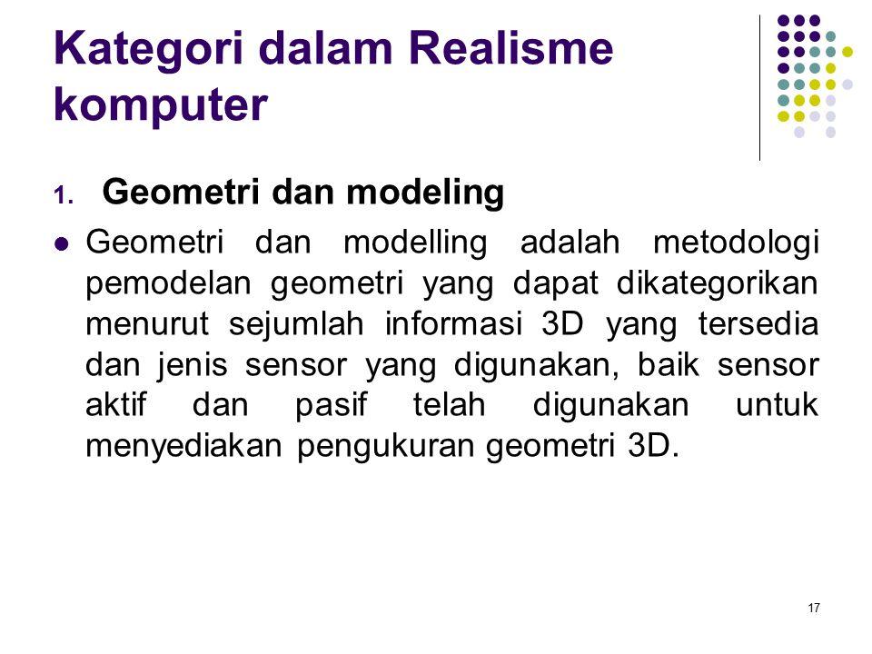Kategori dalam Realisme komputer 1. Geometri dan modeling Geometri dan modelling adalah metodologi pemodelan geometri yang dapat dikategorikan menurut
