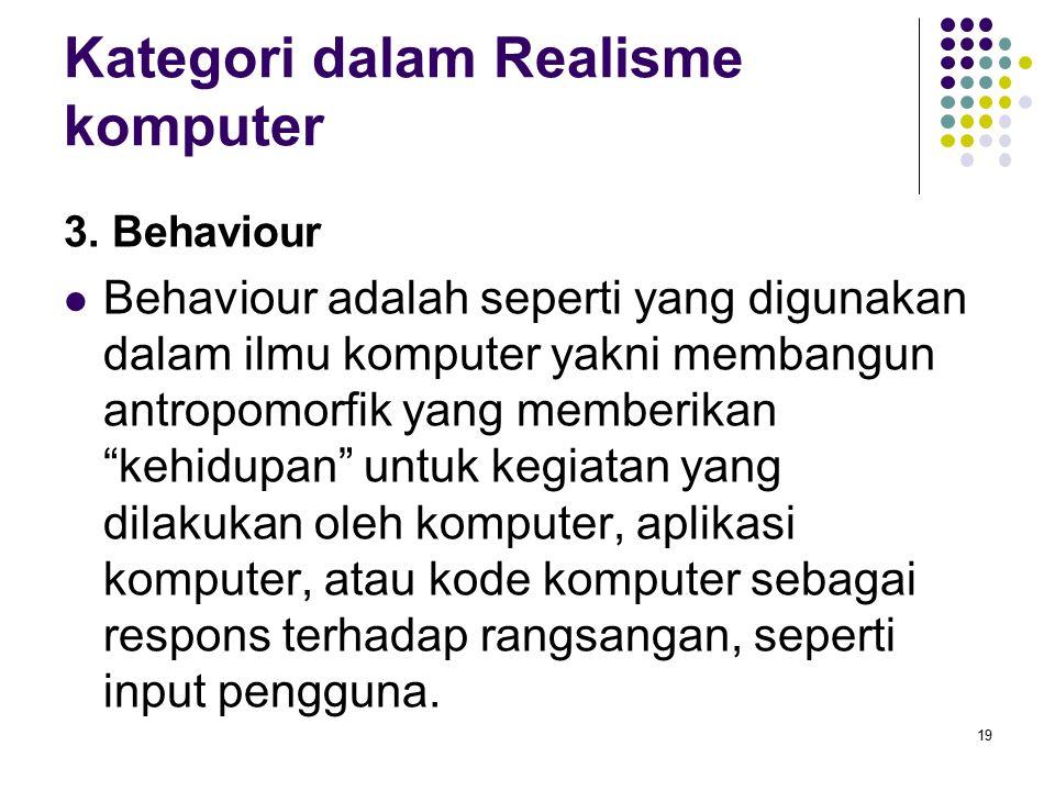 Kategori dalam Realisme komputer 3. Behaviour Behaviour adalah seperti yang digunakan dalam ilmu komputer yakni membangun antropomorfik yang memberika