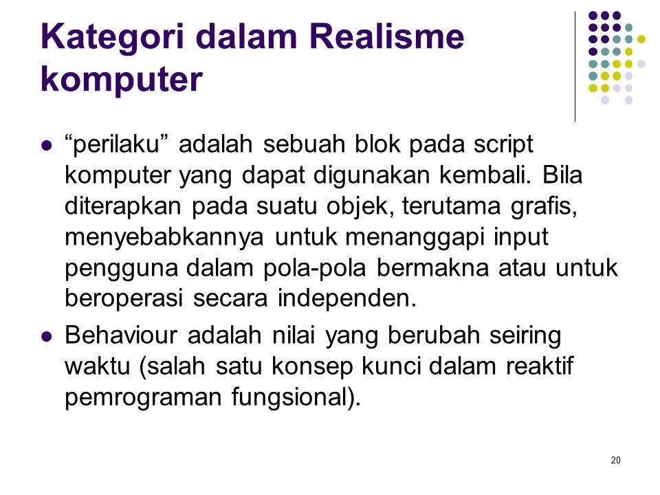 """Kategori dalam Realisme komputer """"perilaku"""" adalah sebuah blok pada script komputer yang dapat digunakan kembali. Bila diterapkan pada suatu objek, te"""