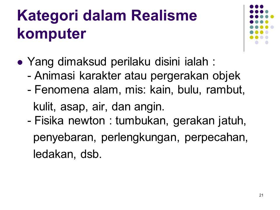 Kategori dalam Realisme komputer Yang dimaksud perilaku disini ialah : - Animasi karakter atau pergerakan objek - Fenomena alam, mis: kain, bulu, ramb