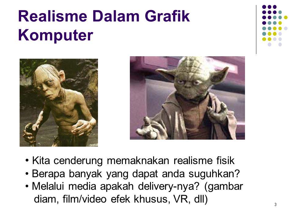 Realisme Dalam Grafik Komputer 3 Kita cenderung memaknakan realisme fisik Berapa banyak yang dapat anda suguhkan? Melalui media apakah delivery-nya? (