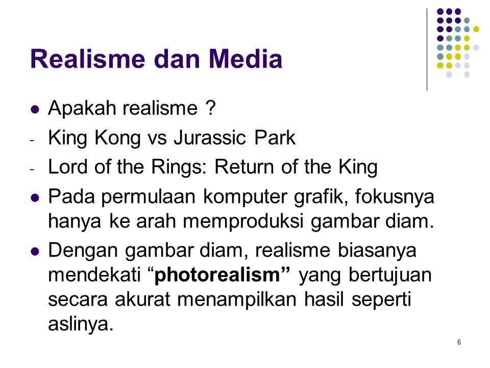 Realisme dan Media Apakah realisme ? - King Kong vs Jurassic Park - Lord of the Rings: Return of the King Pada permulaan komputer grafik, fokusnya han