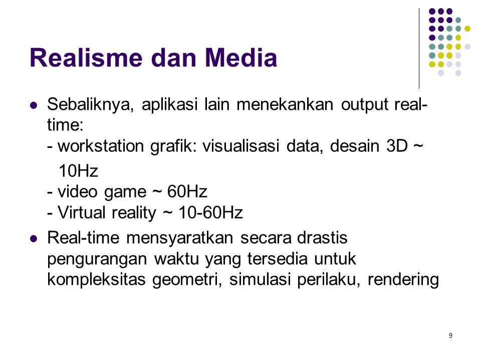 Realisme dan Media Sebaliknya, aplikasi lain menekankan output real- time: - workstation grafik: visualisasi data, desain 3D ~ 10Hz - video game ~ 60Hz - Virtual reality ~ 10-60Hz Real-time mensyaratkan secara drastis pengurangan waktu yang tersedia untuk kompleksitas geometri, simulasi perilaku, rendering 9