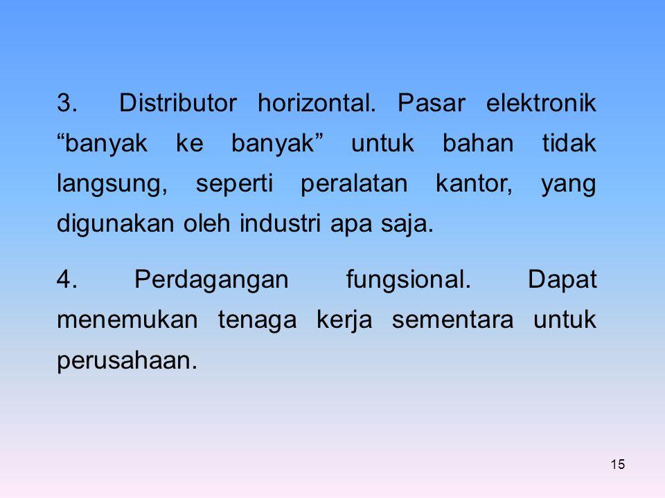 """15 3. Distributor horizontal. Pasar elektronik """"banyak ke banyak"""" untuk bahan tidak langsung, seperti peralatan kantor, yang digunakan oleh industri a"""