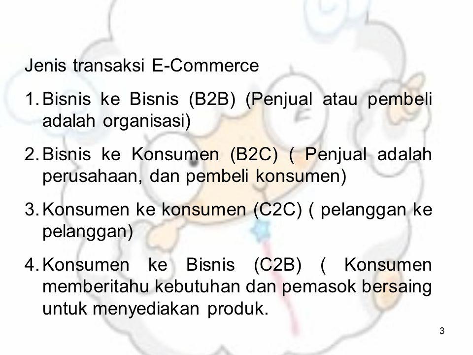 3 Jenis transaksi E-Commerce 1.Bisnis ke Bisnis (B2B) (Penjual atau pembeli adalah organisasi) 2.Bisnis ke Konsumen (B2C) ( Penjual adalah perusahaan, dan pembeli konsumen) 3.Konsumen ke konsumen (C2C) ( pelanggan ke pelanggan) 4.Konsumen ke Bisnis (C2B) ( Konsumen memberitahu kebutuhan dan pemasok bersaing untuk menyediakan produk.