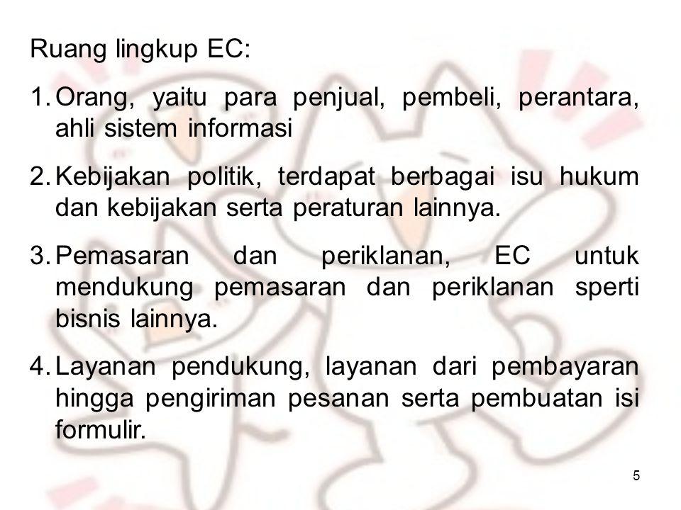 5 Ruang lingkup EC: 1.Orang, yaitu para penjual, pembeli, perantara, ahli sistem informasi 2.Kebijakan politik, terdapat berbagai isu hukum dan kebijakan serta peraturan lainnya.