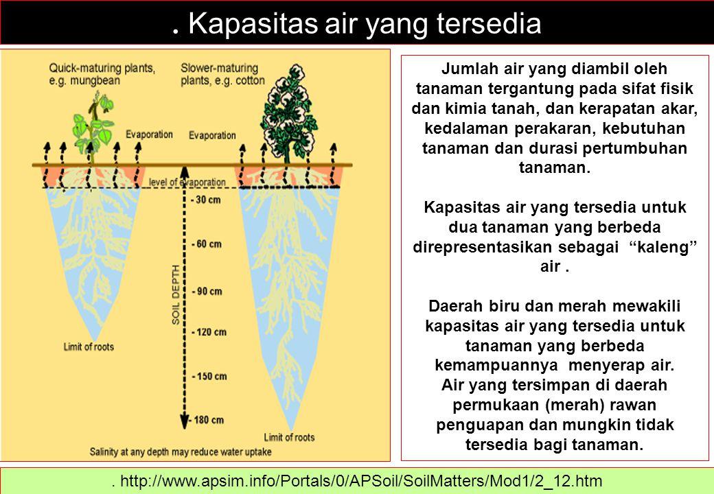 . Kapasitas air yang tersedia Jumlah air yang diambil oleh tanaman tergantung pada sifat fisik dan kimia tanah, dan kerapatan akar, kedalaman perakara