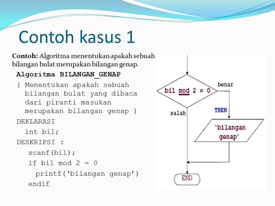 Contoh kasus 1 Algoritma BILANGAN_GENAP { Menentukan apakah sebuah bilangan bulat yang dibaca dari piranti masukan merupakan bilangan genap } DEKLARAS