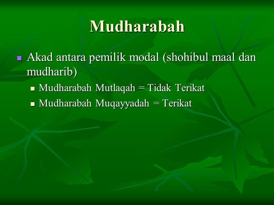 Mudharabah Akad antara pemilik modal (shohibul maal dan mudharib) Akad antara pemilik modal (shohibul maal dan mudharib) Mudharabah Mutlaqah = Tidak Terikat Mudharabah Mutlaqah = Tidak Terikat Mudharabah Muqayyadah = Terikat Mudharabah Muqayyadah = Terikat