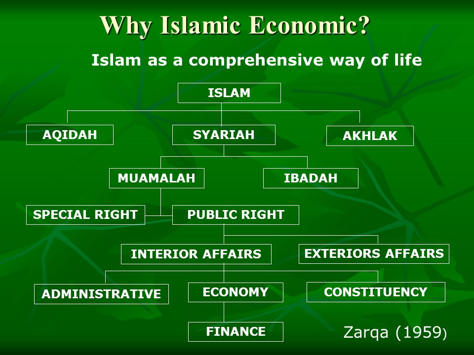 Outline of Islamic Economics System Sector Public Sector Private Sector Social Welfare Sector Major Function Maintenance of law order, justice and defense Maintenance of law order, justice and defense Promulgation and implementation of economic policies Promulgation and implementation of economic policies Management of properties under state ownership Management of properties under state ownership Economics intervention if necessary Economics intervention if necessary Creation of wealth Creation of wealth Economic activities of production, consumption & distributions Economic activities of production, consumption & distributions Islamic Social Security (al takaful al ijtima'i) Possible Institution Government, ministries, and departments Government, ministries, and departments Statutory bodies Statutory bodies Government companies Government companies Owner operator Sharikah Public Sector (Bait al Mal, Bait al Zakat) Private sector (charitable org.