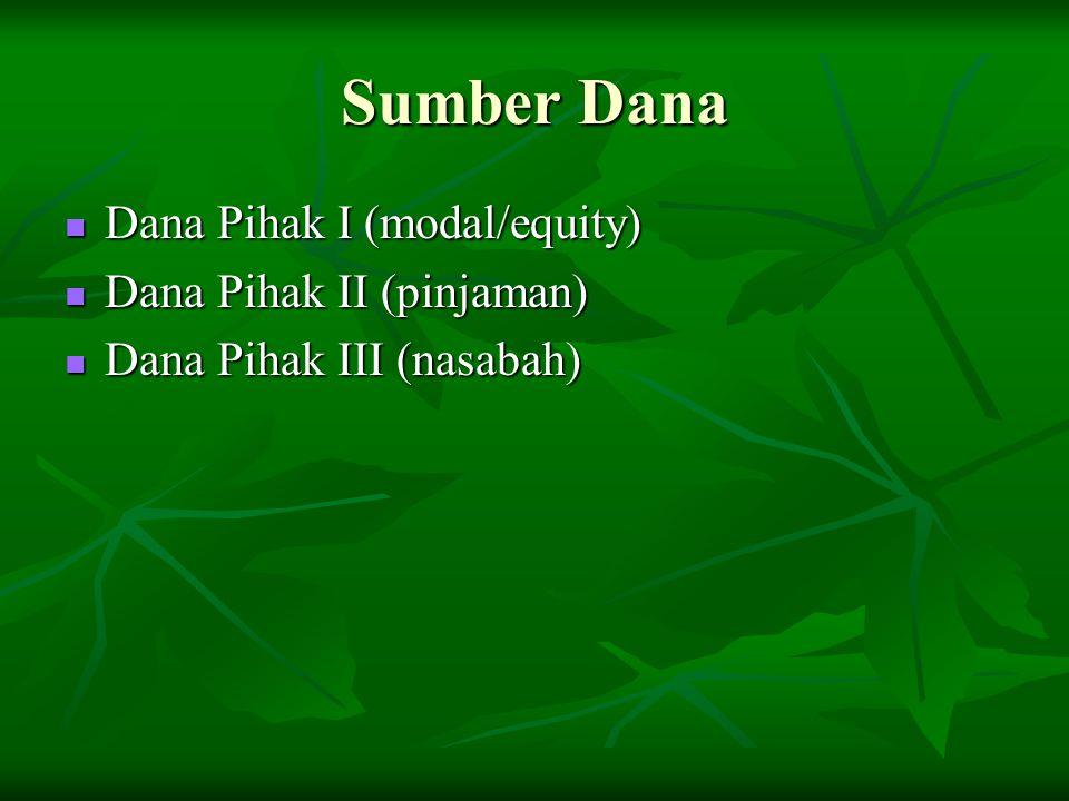 Sumber Dana Dana Pihak I (modal/equity) Dana Pihak I (modal/equity) Dana Pihak II (pinjaman) Dana Pihak II (pinjaman) Dana Pihak III (nasabah) Dana Pihak III (nasabah)