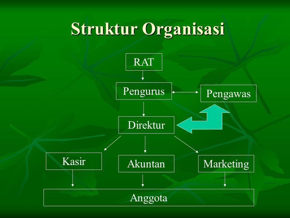 Struktur Organisasi RAT Pengurus Direktur Pengawas AkuntanMarketing Kasir Anggota