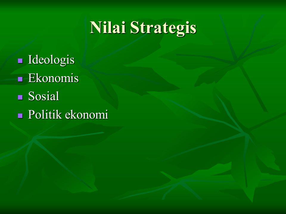 Nilai Strategis Ideologis Ideologis Ekonomis Ekonomis Sosial Sosial Politik ekonomi Politik ekonomi