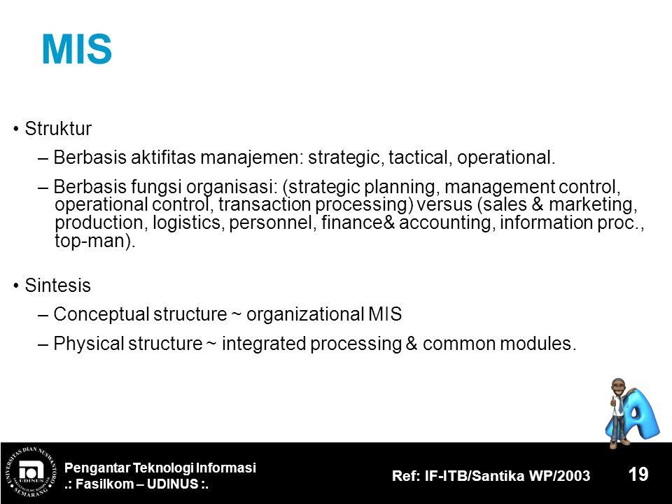 Pengantar Teknologi Informasi.: Fasilkom – UDINUS :. Ref: IF-ITB/Santika WP/2003 19 MIS Struktur – Berbasis aktifitas manajemen: strategic, tactical,