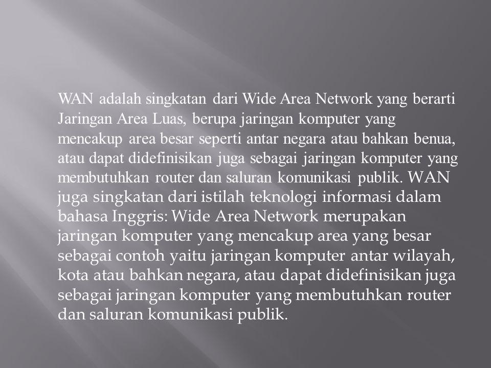 WAN adalah singkatan dari Wide Area Network yang berarti Jaringan Area Luas, berupa jaringan komputer yang mencakup area besar seperti antar negara at