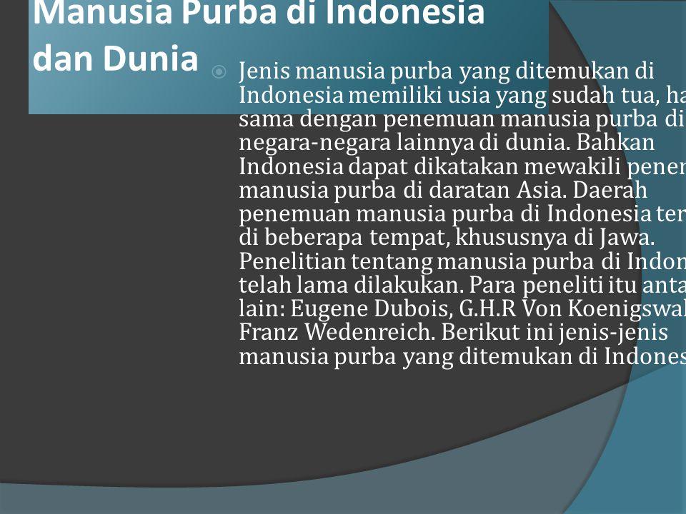 Manusia Purba di Indonesia dan di Dunia