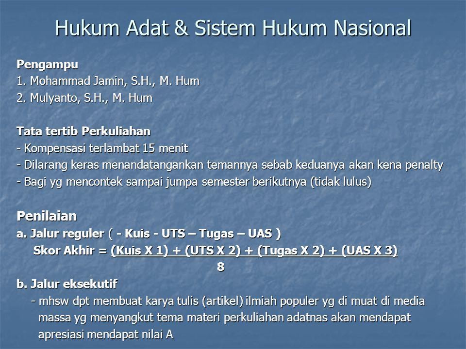 Hukum Adat & Sistem Hukum Nasional Pengampu 1. Mohammad Jamin, S.H., M. Hum 2. Mulyanto, S.H., M. Hum Tata tertib Perkuliahan - Kompensasi terlambat 1