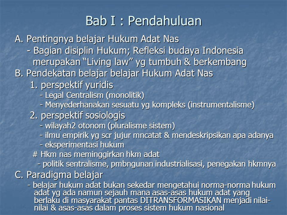 Bab I : Pendahuluan A. Pentingnya belajar Hukum Adat Nas - Bagian disiplin Hukum; Refleksi budaya Indonesia - Bagian disiplin Hukum; Refleksi budaya I