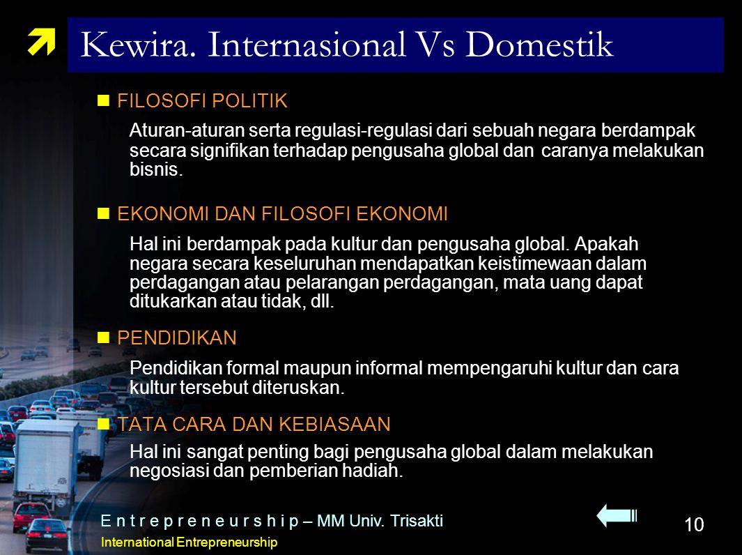 10  Kewira. Internasional Vs Domestik FILOSOFI POLITIK Aturan-aturan serta regulasi-regulasi dari sebuah negara berdampak secara signifikan terhadap