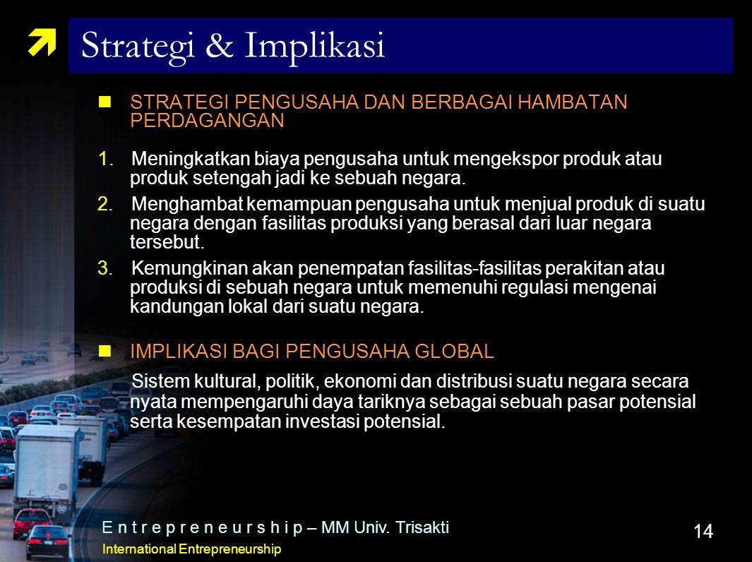14  Strategi & Implikasi STRATEGI PENGUSAHA DAN BERBAGAI HAMBATAN PERDAGANGAN  Meningkatkan biaya pengusaha untuk mengekspor produk atau produk set