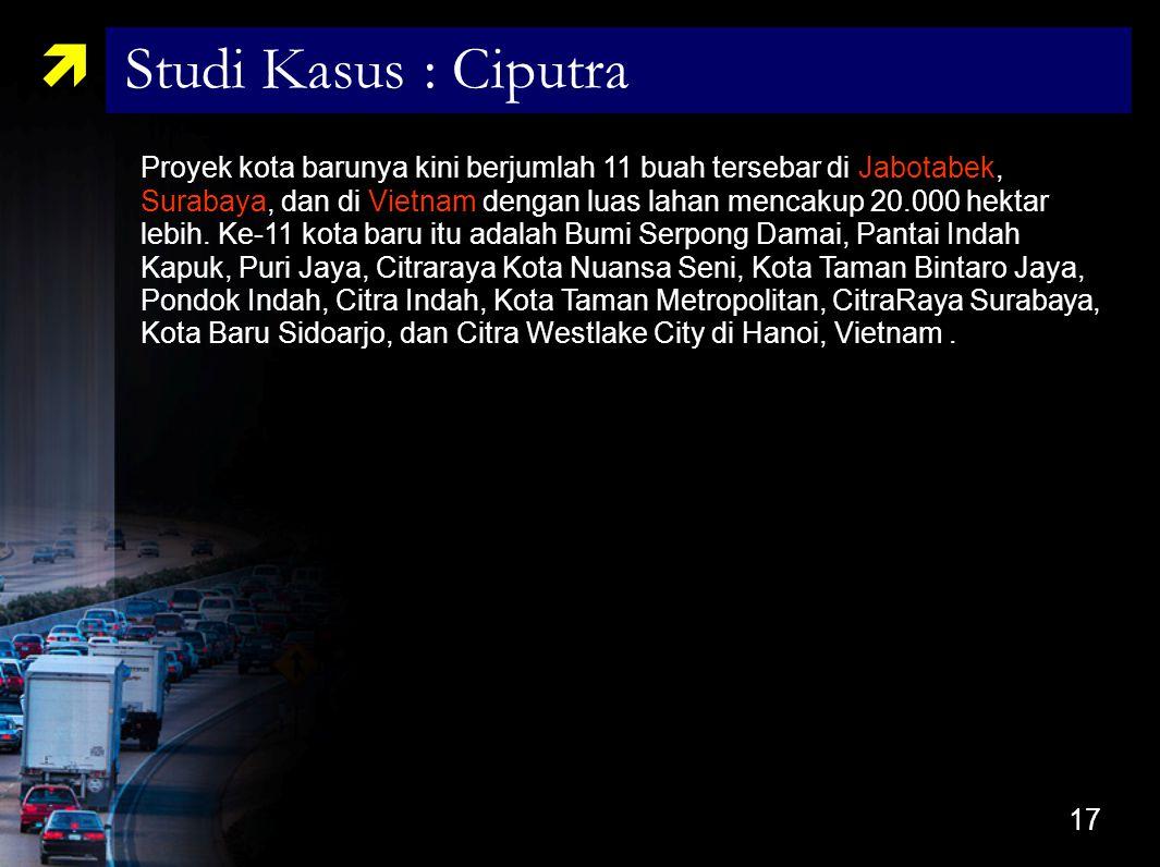 17 Proyek kota barunya kini berjumlah 11 buah tersebar di Jabotabek, Surabaya, dan di Vietnam dengan luas lahan mencakup 20.000 hektar lebih. Ke-11 ko