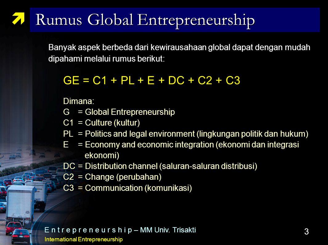 3  Rumus Global Entrepreneurship E n t r e p r e n e u r s h i p – MM Univ. Trisakti International Entrepreneurship Banyak aspek berbeda dari kewirau