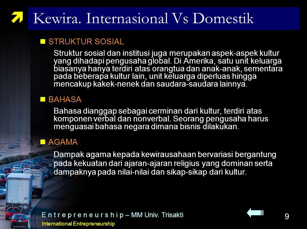 9  Kewira. Internasional Vs Domestik STRUKTUR SOSIAL Struktur sosial dan institusi juga merupakan aspek-aspek kultur yang dihadapi pengusaha global.