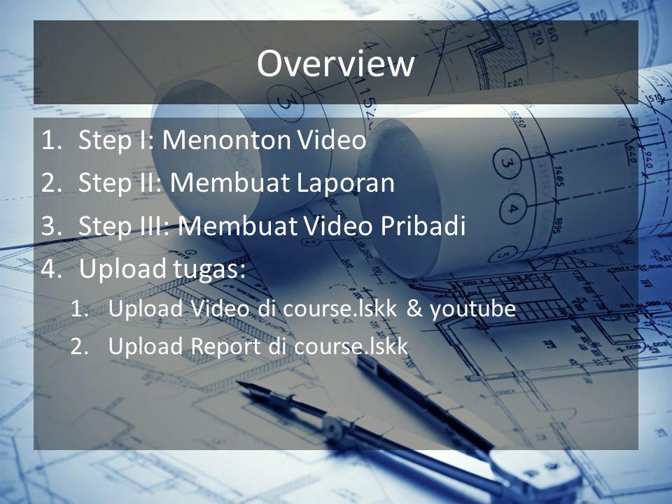 Overview 1.Step I: Menonton Video 2.Step II: Membuat Laporan 3.Step III: Membuat Video Pribadi 4.Upload tugas: 1.Upload Video di course.lskk & youtube